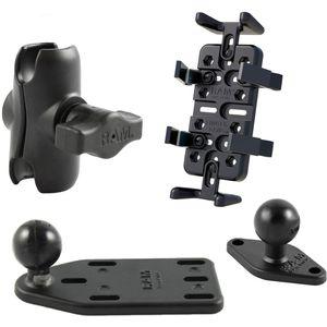 RAM Mounts univerzální držák na mobilní telefony, vysílačky, GPS navigace Finger-Grip s krátkým ramenem na motorku na nádržku brzdové kapaliny, sestava RAM-B-183-UN4-AU