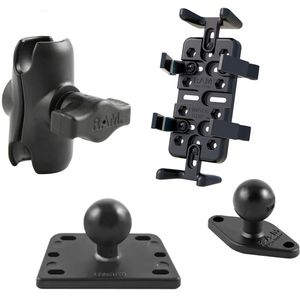 RAM Mounts univerzální držák na mobilní telefony, vysílačky, GPS navigace Finger-Grip s krátkým ramenem na motorku na nádržku brzdové kapaliny, sestava RAM-B-182-UN4-AU