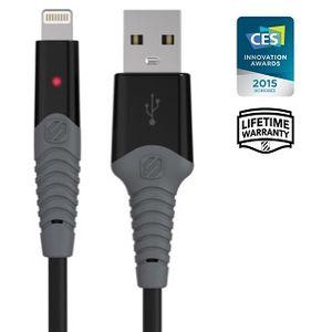 Scosche odolný kabel StrikeLine s Lightning konektorem, 180cm, černý