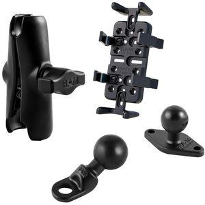 RAM Mounts univerzální držák na mobilní telefony, vysílačky, GPS navigace Finger-Grip na motorku na zpětné zrcátko s Ø do 9 mm, sestava RAM-B-180-UN4U