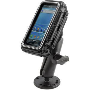 RAM Mounts vodotěsný držák na mobilní telefon na bort kajaku, skútr atd. na šroubky nebo vruty, AQUABOX™ malý, AMPS, sestava RAM-B-138-AQ3U
