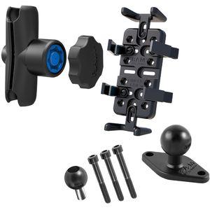 RAM Mounts univerzální držák na mobilní telefony, vysílačky, GPS navigace Finger-Grip s ramenem se zabezpečením a úchytem na motorku na řídítka místo šroubu M8, sestava RAM-B-186-UN4-KNOB3U