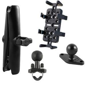 RAM Mounts univerzální držák na mobilní telefony, vysílačky, GPS navigace Finger-Grip s dlouhým ramenem a s nerez objímkou pro Ø12,7-25,4 mm, sestava RAM-B-149-UN4-CU