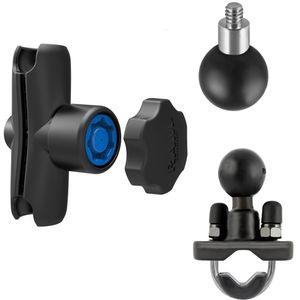 RAM Mounts držák pro malé kamery a fotoaparáty s ramenem se zabezpečením a s nerez objímkou pro Ø 12,7-25,4 mm, sestava RAM-B-149-237-KNOB3U
