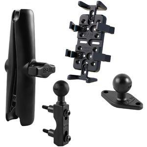 RAM Mounts univerzální držák na mobilní telefony, vysílačky, GPS navigace Finger-Grip s dlouhým ramenem na motorku na objímku brzd./spojk. páky, sestava RAM-B-309-UN4-CU