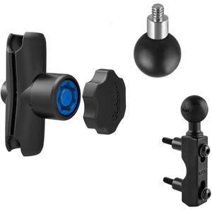 RAM Mounts držák pro malé kamery a fotoaparáty s ramenem se zabezpečením na motorku na objímku brzd./spojk. páky, sestava RAM-B-309-237-KNOB3U