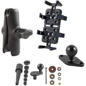RAM Mounts univerzální držák na mobilní telefony, vysílačky, GPS navigace Finger-Grip na motorku na řídítka do středu vidlice, sestava RAM-B-176-UN4U