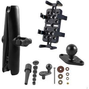 RAM Mounts univerzální držák na mobilní telefony, vysílačky, GPS navigace Finger-Grip s dlouhým ramenem na motorku na řídítka do středu vidlice, sestava RAM-B-176-UN4-CU
