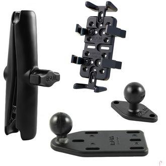 RAM Mounts univerzální držák na mobilní telefony, vysílačky, GPS navigace Finger-Grip s dlouhým ramenem na motorku na nádržku brzdové kapaliny, sestava RAM-B-183-UN4-CU