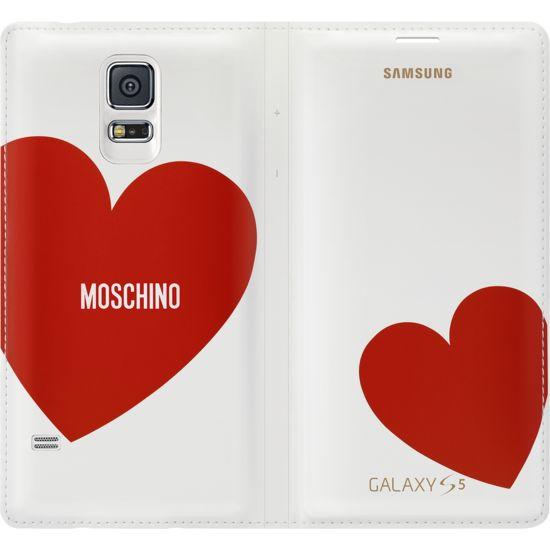 Samsung flipové pouzdro Moschino EF-WG900RR pro S5, White + Red