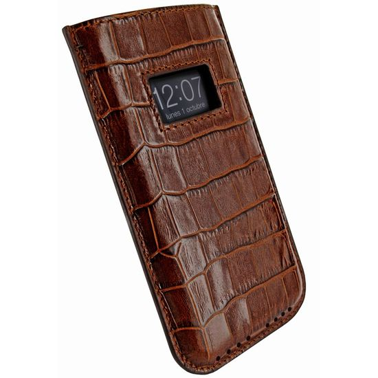 Piel Frama pouzdro pro iPhone 5 Pull Case, Crocodile Brown