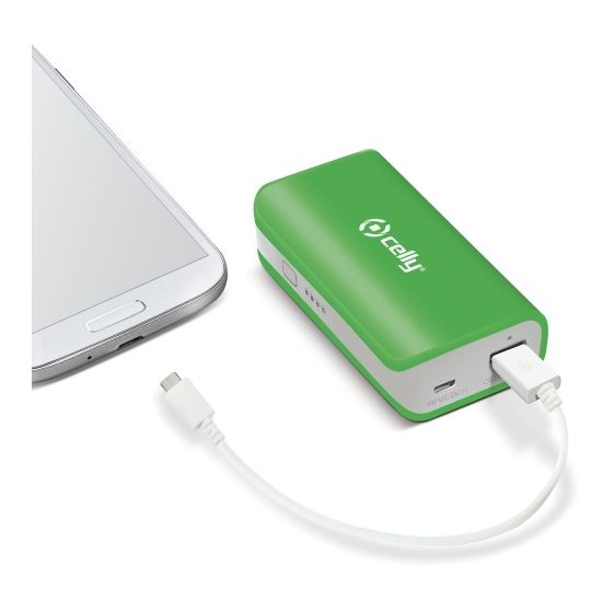 Celly powerbanka 4000 mAh, USB výstup a microUSB kabel, 1A, LED svítilna, zelená