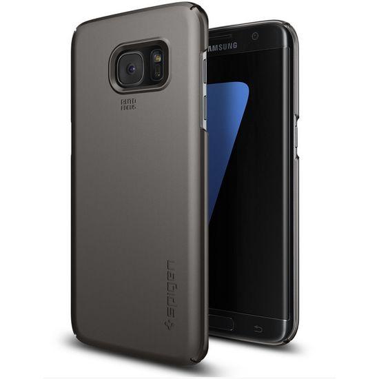 Spigen pouzdro Thin Fit pro Galaxy S7 edge, kovově šedé
