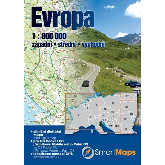 SmartMaps Locator: Automapa Evropa 1:800.000 (Windows Mobile/Win CE/Symbian/Android)