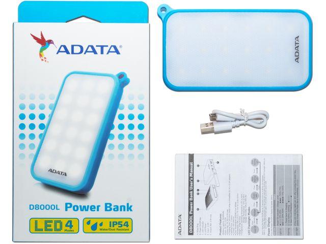 obsah balení ADATA Powerbanka D8000L 8000mAh s LED svítilnou modrá