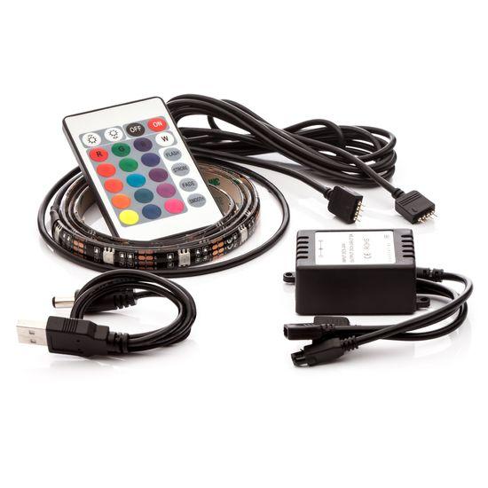 LED pásek 2ks,  2x 50cm, do USB, 15 diod, dálkový ovladač, 16 barev, samolepící LED pásy