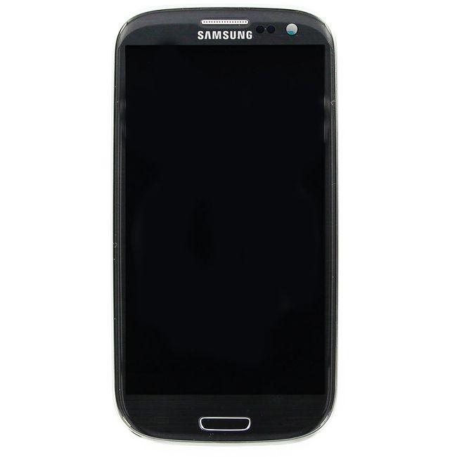 Náhradní díl LCD displej s dotykovou vrstvou + přední kryt na Samsung i9305 Galaxy S III LTE, šedá