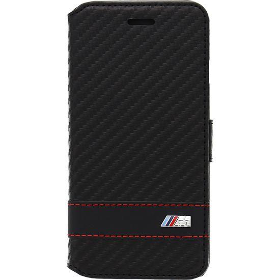 BMW horizontální flipové pouzdro M Collection Carbon Effect pro iPhone 6 4.7, černé