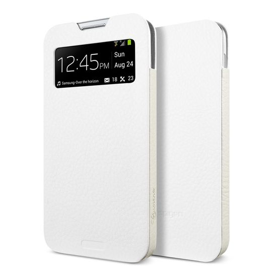 Spigen kožené pouzdro Crumena View pro Galaxy S4, bílá