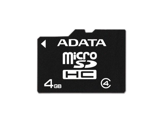 obsah balení Adata microSDHC 4GB Class 4 paměťová karta
