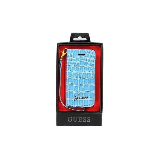Guess Croco Collection Wallet pouzdro iPhone 5, modré