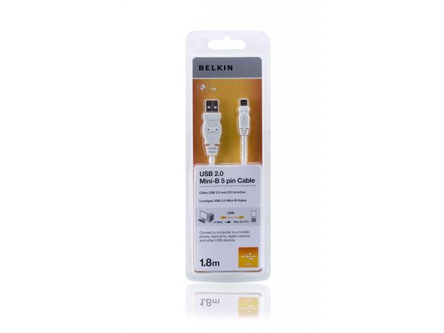 obsah balení Belkin kabel USB 2.0/mini USB, 1,8m, bílý
