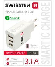 Swissten Smart IC cestovní nabíječka 3xUSB, 3,1A, bílá