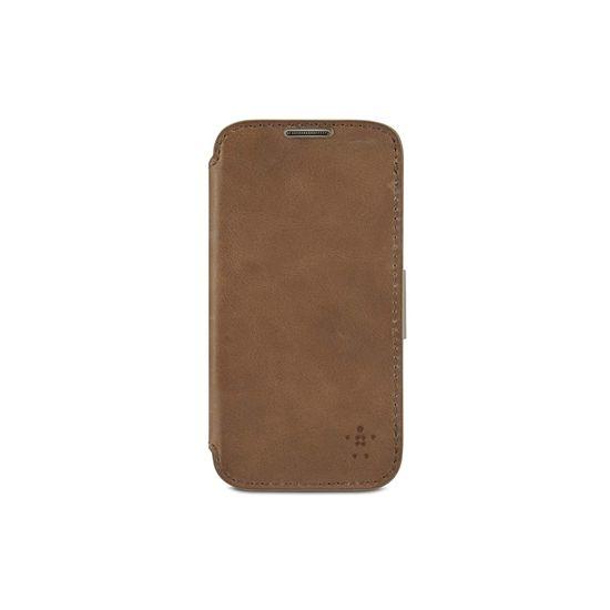 Belkin luxusní pouzdro z pravé kůže pro Samsung Galaxy S4, světle hnědé