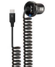 Scosche StrikeDrive autonabíječka s krouceným kabelem 50cm USB-C 3A a volným USB 2,4A