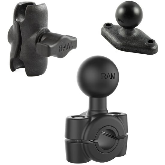 RAM Mounts sestava s lichoběž. adaptérem a krátkým ramenem s objímkou na zrcátko, opěrku nebo jinou tyč o Ø 9,52 - 15,88 mm, vysokopevnostní plast, RAP-B-408-37-62-AU