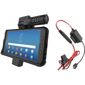 RAM Mounts Vehicle Cradle with combination lock for Samsung Galaxy Tab Active2 with Hardwire Charger