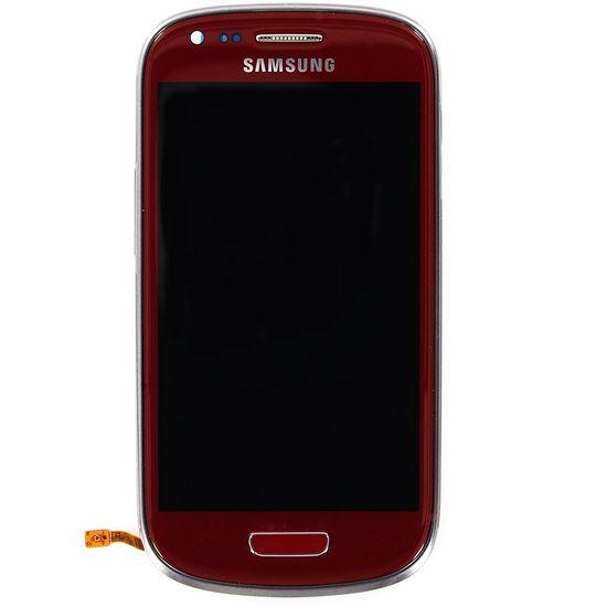 Náhradní díl LCD displej + Dotyk + Přední kryt pro Samsung i8190 Galaxy S III mini, červený