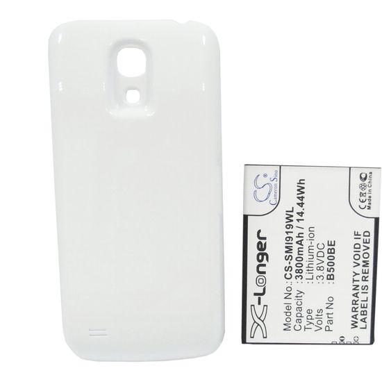 Baterie rozšířená pro Samsung Galaxy S4 mini, 3800mAh, Li-ion bílý kryt