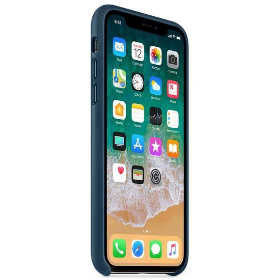 Apple kožený kryt na iPhone X vesmírně modrý